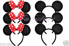 8 Minnie Mouse and Mickey Ears Headband Black RED Bows Party Favors Hat Supplies