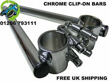 NEW CHROME CLIP ON HANDLEBARS BARS 35MM CAFE RACER PROJECT RACE CLASSIC RACING