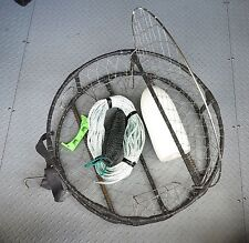 Complete Setup Handcrafted Heavy CRAB POT with Float Rope Bait Bag & Crab Gauge
