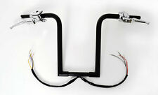 "BLACK HANDLEBARS FAT 16"" APE HANGERS HAND CONTROLS SWITCHES BARS FIT HARLEY"