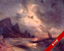 LISTING SHIP IN ROUGH SEA STORM SAILBOAT SEASCAPE PAINTING ART REAL CANVAS PRINT