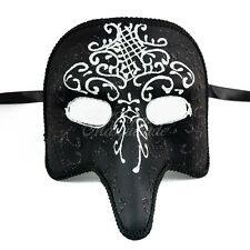 Medieval Plague Doctor Venetian Masquerade Mask w/ White Details for Men [Black]