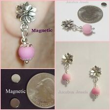MAGNETIC Flower Earrings with PINK Bead Drop DANGLE Non-Pierced Petite #MAG123