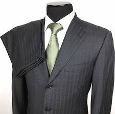 ERMENEGILDO ZEGNA Roma Mens 40S/34 Gray Striped 3-Button Wool Suit~Pleated Pants