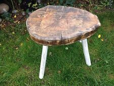 STUNNING FRENCH VINTAGE RUSTIC  HEAVY WOODEN STOOL SIDE TABLE 20x18x13""