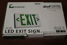 New DLED52G Slim Green LED Exit Sign With Battery Back-up