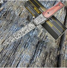 """8.5"""" Damascus Italian Stiletto Tactical Spring Assisted Open Pocket Knife Wood"""