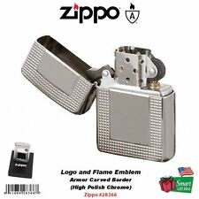 Zippo Carved Border Lighter, Armor, High Polish Chrome, Windproof #28366