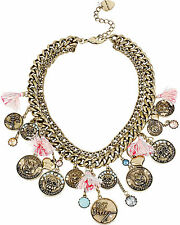 "BETSEY JOHNSON ""Cameo Critters"" Cat Dog Coin Tassel Brass-Tone Frontal Necklace"