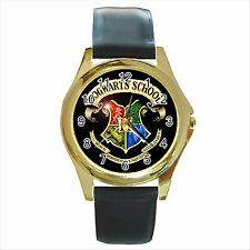 NEW* HOT HARRY POTTER HOGWARTS SCHOOL Gold Tone Round Metal Watch
