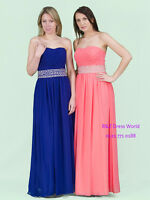 Royal Blue Chiffon Beaded Evening Ball Gown Party Prom Bridesmaid Dress SZ 8-22