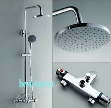 Chrome Finish Thermostatic Bath Shower Faucet Column Set Mixer W/ Bathtub Tap