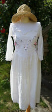 Vintage hand made Edwardian embroidered cotton gauze lace dress /lawn dress