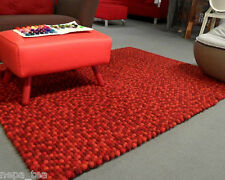 Rectangle 5 ft / 6 ft Wool Red Round Carpet Felted Woolen Balls Rug Living Room