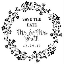 Personalised Laser Rubber Stamp - Save the Date: Flower Wreath