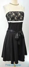 Grifflin Paris Black Dress Sundress lace fit flare First Date adj strap SZ M NEW