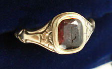 Antique 14ct Gold leaf Intaglio Seal Ring With Hairwork Compartment.