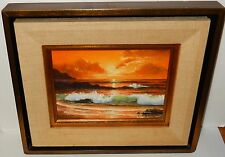 KEMBO HANZAWA SMALL OIL ON CANVAS WAVES SEASCAPE PAINTING CALIFORNIA ARTIST