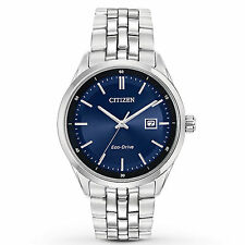 Mens Citizen Eco-Drive Silver Stainless Steel Blue Dial Date Watch BM7251-53L