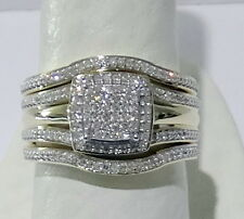 Yellow Gold Pave Diamonds Vintage Bridal Wedding Set Ring Engagement 3 pieces