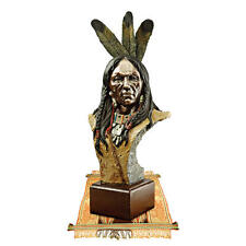 Proud Tribal Indian Chief Bust Symbol of the Old West Statue