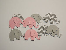 100 Pink and Gray Elephants,Confetti,Baby Shower,Party Decor,Table Decor,