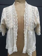 Antico VINTAGE Edwardian Giacca matrimonio seta pizzo dress UK 8/10/12 BRIDAL Boho