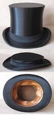 ANTIQUE GERMAN MARKED SILK COLAPSIBLE OPERA TOP HAT GIBUS / SIZE 55 –U.S. 6⅞ (S)