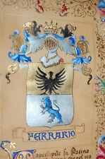 Famiglia Ferrario. -  Wappen und Beglaubigungsdokument GOUACHE UNIKAT