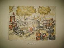 AUTO LITHOGRAPHIE ORIGINALE MAX BERTRAND POMPE A ESSENCE TACOT SCENE DE RUE 1930