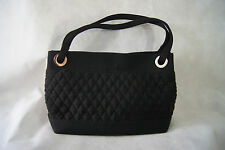 Vera Bradley Black Quilted Shoulder Bag Tote with Silver Accents