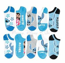 New Disney Lilo & Stitch Blue Character No-Show Socks 5 Pair (Pr) Mix & Match