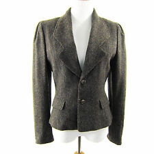 Vintage Ralph Lauren Tweed Blazer Jacket Cropped Women M Made in USA