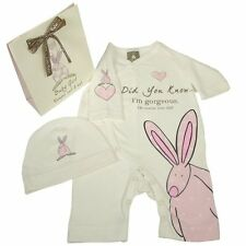 Baby Girls Pink Rufus Rabbit Romper Suit and Hat 100% Organic Cotton 0-6 months
