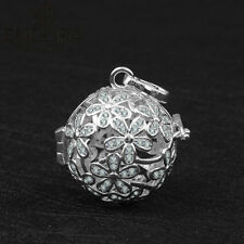 Harmony Ball Musical Bola Luxury Crystal Silver Plated Flower Floating Locket