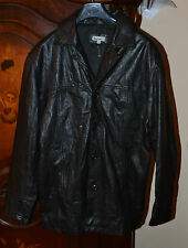 NEW MEN'S MOLLTAN BLACK REAL GENUINE LEATHER JACKET/COAT, CHEST 43 inch