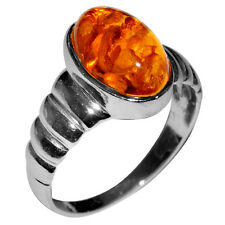 3.4g Authentic Baltic Amber 925 Sterling Silver Ring Jewelry s.7.5 A7008S75