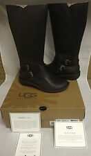 UGG Australia Rosen Tall Stout Espresso Leather Boots Size US 8 UK 6.5 NIB NEW