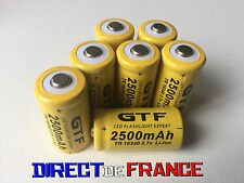 7 PILES ACCUS RECHARGEABLE CR123A 16340 3.7V 2500Mah GTF Li-ion BATTERIES