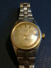 Vintage Timex datejust ladies watch, vintage stainless steel band running NR