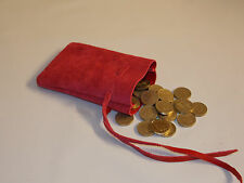 Medieval/Larp/SCA/Pagan/Reenactment Red Leather DRAWSTRING MONEY POUCH/ BAG