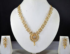 Indian Jewelry Bollywood New women Necklace Set Crystal Cz Gold Pendant Ethnic 2