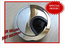 80mm Computer Desk Table Grommet Cable Wire Hole Metal Cover Chrome