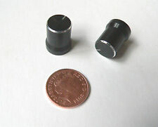 Small black metal knobs set of 2 for project, amplifier or guitar pedal 6mm