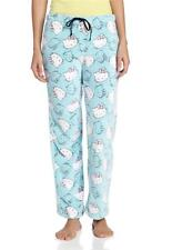 NEW SANRIO WOMEN'S HELLO KITTY PLUSH PAJAMA PANT LIGHT BLUE HB1180 SIZE L