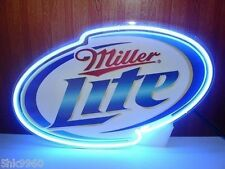 Miller Lite Business REAL GLASS NEON BEER BAR PUB LIGHT SIGN FAST FREE SHIPPING
