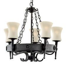 Searchlight 0815-5bk CARTWHEEL WOOD Wrought Iron Chandelier Classic 5 Light