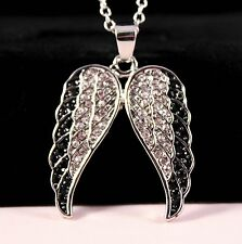 Silver Rhinestone Angel Wings Pendant Necklace w/Free Jewelry Box and Shipping