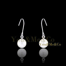 18k White Gold EP 7MM Cream Pearl Dangle Earrings