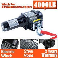 4000LBS 12V Electric Winch Steel Cable Wired/Wireless Remote ATV 4WD Boat Truck